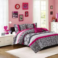 Beautiful Modern Chic Pink Black Zebra Stripe Polka Dots Girl Soft Comforter Set