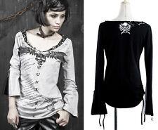 Top haut gothique punk lolita épingles manches réglables laçage gris Punkrave