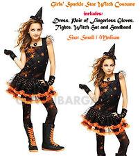 Girls Orange Black Sparkle Witch Halloween Tutu Costume S:S/M Hat, Gloves,Tights