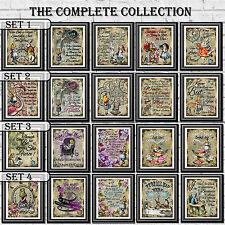 Alice nel paese delle meraviglie preventivi stampe vintage imposta pagina di dizionario WALL ART IMMAGINI