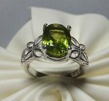 NUOVO, Argento Sterling ORIGINALE PERIDOTO FARFALLA & foglie motivi anello