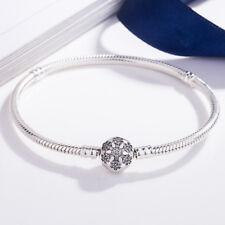 S925 Sterling Flower Silver Bracelet Bangle Fit European Charms Bead Snake Chain