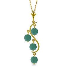 Genuine Emerald Gemstones Chandelier Style Necklace 14K. White, Yellow, Rose Gld