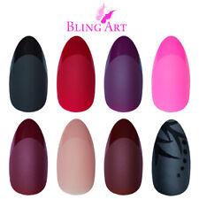 Bling Art Almond False Nails Matte Black Red Pink Brown 24 Fake Medium Tips Glue
