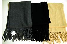 "Land's End 100% CASHMERE 2-PLY Wool Scarf w/Fringe 8"" x 66"" Long + Fringe Black"