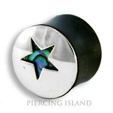 EDEL ! 8 - 22mm HORN ECHT SILBER PERLMUTT Flesh Tunnel Plug Ohr Piercing 299