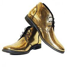 Modello Flexus - Handmade Italian Gold  Ankle Chukka Boots - Cowhide Patent Leat