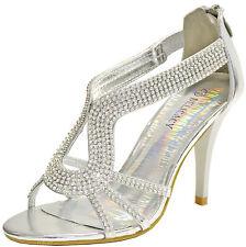 New women's shoes back zipper open toe stilettos rhinestones prom party silver