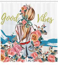 Good Vibes Shower Curtain Girl Rose Flourish Print for Bathroom