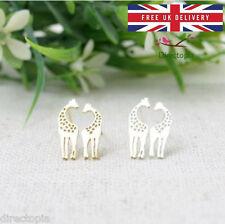 Giraffe Love Heart Earrings Gold Silver Animal Kawaii & Gift Box