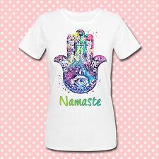 T-shirt donna Namaste hamsa hand, zen boho style hippie vintage gipsy amuleto