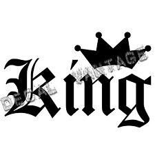 King Text Style B Crown Vinyl Sticker Decal JDM Race Drift - Choose Size & Color