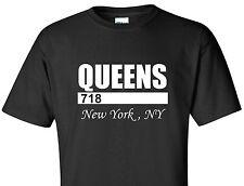 QUEENS 718 T-SHIRT NEW YORK CITY NYC URBAN NY SWAG NEW YORKER TEE BLACK SHIRT