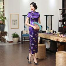 Purple Classic Women Chinese Dress Long slim Cheongsam printing silk Qipao S-3XL