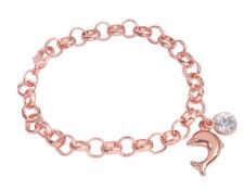 Fashion Rose Gold Dolphin Rhinestone Charm Chain Bracelet #91732