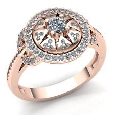 0.75ct Round Cut Diamond Ladies Bridal Pave Halo Engagement Ring 14K Gold