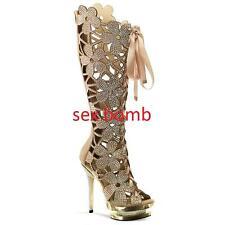 sexy Stiefel Gold Leder STRASS Plateau Ferse 15 von 35 zu 41 fashion