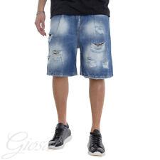Pantalone Corto Uomo Bermuda Jeans Rotture Macchie Di Pittura Cavallo Basso G...