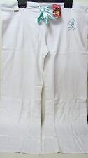 QUALITY WHITE BLUE COTTON DIAMANTE LOUNGE SWEAT PANTS JOGGERS 12-14 & 16-18 BNWT