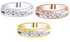 1/2 Ct D/VVS1 Diamond 18K Gold Over Mens Wedding Ring Channel Set Band $703.92