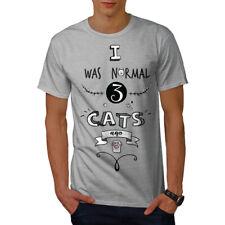 Wellcoda normale 3 Gatti fa Divertente Uomo T-shirt, 0 Graphic Design Stampato Tee