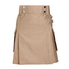 Ladies Khaki Utility Scottish Kilt Skirt Cotton BNWT Free Ladies Kilt Pin
