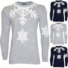 Mens Xmas Chunky Knit Jumper Crew Neck Snowflakes Printed Festive Christmas Top