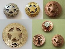 3/4'' 21mm Brass Western Texas Star Concho Saddle Conchos Silver Glod Color