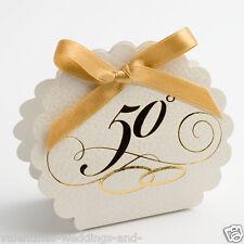 50° anniversario di matrimonio d'Oro Scatole di Bomboniere smerlato EDGE+nastro