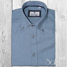 Camicia Uomo Casual Basic Cotone Microfantasia Azzurro Manica Lunga Slim Fit