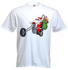 SANTA CLAUS BIKER T-SHIRT - Father Christmas Chopper Motorbike Present Gift