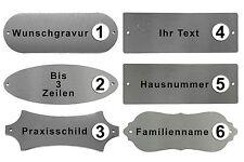 EDELSTAHL TÜRSCHILD Namensschild XL mit Text Personalisiert GRAVUR Hausnummer