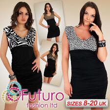 Sensual Dress Women's Elegance Stretch Animal Printed V-Neck ALL SIZE FT835