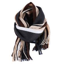 Men Winter Striped Scarf Neck Wrap Winter Warm Fall Scarves Long Tassel Shawl S