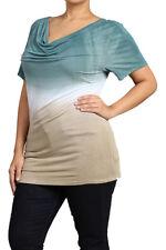 New Plus Size White Green Ombre Tie Dye Cowl Neck Shirt Blouse Tunic Top