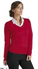 Damen Strick Pullover mit V-Ausschnitt SOL`s XS S M L XL 2XL Shirt 240 g/m²