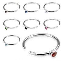 """5/16"""" Nostril Piercing Jewelry N119 Steel Gem Nose Hoop Ring 20G"""