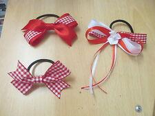 New Handmade Girl's School Red Gingham Hair Bows on Hair Bobbles, Alice Band