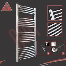 600mm(w) x 1200mm(h) Curved Chrome Electric Heated Towel Rail - 400W or 600W
