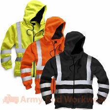 Hi Viz Hoody Mens Work Safety Hooded Sweatshirt Hoodie Security Reflective Tape