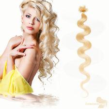 Remy Echthaar Extensions 1g 45cm #60 weißblond U-tip Haarverlängerung Wellig
