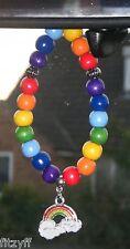 In Car Rainbow Charm & Rainbow Flag Beads Pride LGBT Gay Diversity Symbol Sign