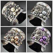 Antique Silver Tone Metal Flower Shape Faux Pearl Crystal Cuff Bracelets