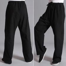 Kung Chi Pantalon décontracté noir coton fu arts compatible avec hommes Gym