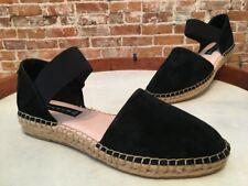Steve Madden Black Suede Casandra Espadrille Flats Shoes NEW