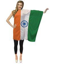 Abito Donna Indiano Bandiera Mondiali di Calcio sostenitore Cricket Fan Costume