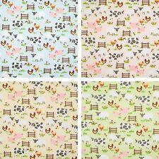 ANIMALI da cortile-maiali, pecore mucche & - Vivaio/tessuto in policotone per Bambini 1/2 METRI