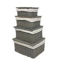 Grey Lidded Wicker Kitchen Storage Toy box Empty Xmas Hamper Basket Lining