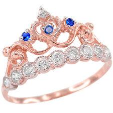 Rose Gold Quinceañera 15 Años Conora Blue White CZ Crown Ring