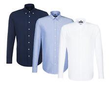 Seidensticker Herren Langarm Smart Business Hemd Oxford Button-Down weiß & blau